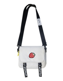 Fashion Strawberry White Embroidered Canvas Shoulder Messenger Bag