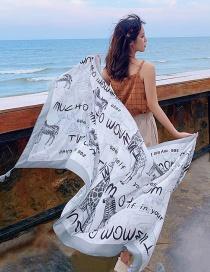 Fashion Gray Zoo Print Tassel Scarf Shawl