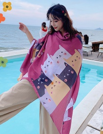Fashion Color Kitten Print Tassel Scarf Shawl