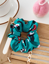 Fashion 泫雅花-green Flower Print Fabric Hair Ring