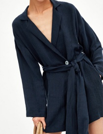 Fashion Navy Belted Dress With Belt