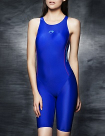 Fashion Blue Racing Anti-chlorine Quick-dry One-piece Swimsuit