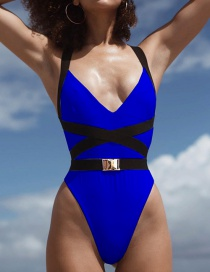Fashion Dark Blue Lace-up Belt Buckle One-piece Swimsuit