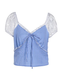 Fashion Blue Plaid Printed Lace Stitching Crop Top