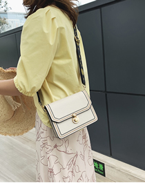 Fashion White Wide Shoulder Strap Embroidery Crossbody Bag