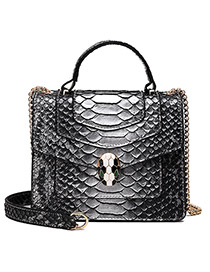 Fashion Silver Snake Head Stitching Contrast Color Python Chain Chain Crossbody Shoulder Bag
