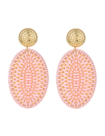 Fashion Pink Alloy Rattan Oval Stud Earrings