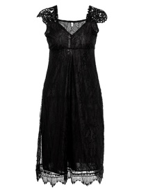 Fashion Black Lace V-neck Dress