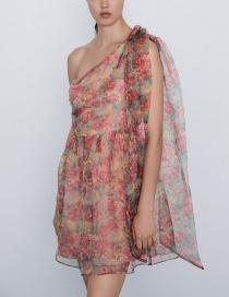 Fashion Color Organza Asymmetric Dress
