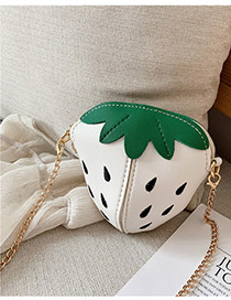 Fashion White Strawberry Chain Children's Shoulder Crossbody Bag