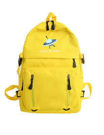 Fashion Yellow Cartoon Letter Print Backpack