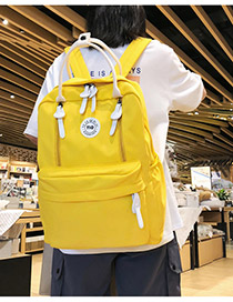 Fashion Yellow Cartoon Letter Labeling Backpack