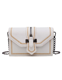 Fashion White Contrast Chain Embroidery Thread Lock Buckle Shoulder Bag