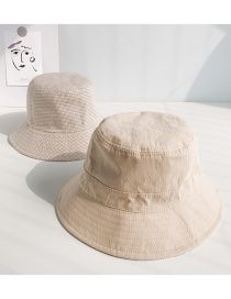 Fashion Small Plaid Solid Color Double-sided Beige Double-sided Fisherman Hat