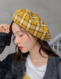 Fashion Small Plaid Leather Turmeric Thin Plaid Beret