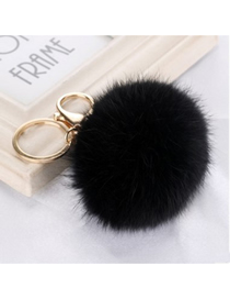 Fashion Black 8 Word Metal Buckle Diy8cm Rabbit Fur Ball Pendant Keychain