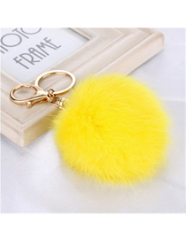 Fashion Yellow 8 Word Metal Buckle Diy8cm Rabbit Fur Ball Pendant Keychain