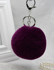 Fashion Dark Purple Rabbit Fur Ball Fur Keychain