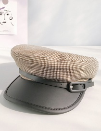 Fashion Houndstooth Pipa Coffee Houndstooth Cotton Stitching Pu Leather Buckle Cap