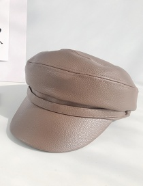 Fashion Litchi Leather Hat Brown Pu Leather Beret