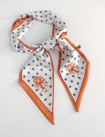 Fashion A Flower With A Green Dot Double-sided Printed Beveled Scarf