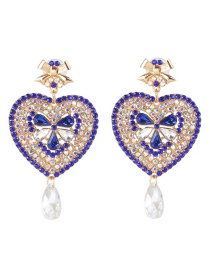 Fashion Blue Heart-shaped Diamond Stud Earrings
