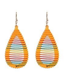 Fashion Water Droplets Yellow Geometric Wooden Winding Rainbow Line Earrings