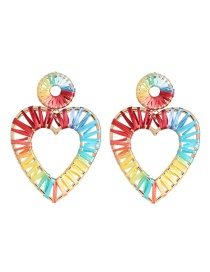 Fashion Heart-shaped Hollow Alloy Lafite Woven Earrings