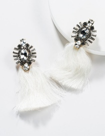 Fashion White Acrylic-studded Tassel Earrings