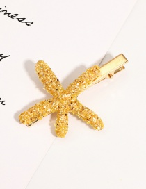 Fashion Yellow Sequined Starfish Hairpin