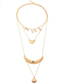 Fashion Gold Multi-layer Natural Shell Alloy Necklace