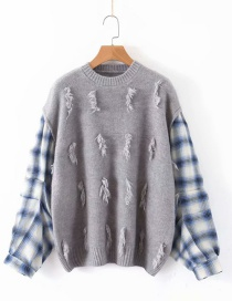Fashion Gray Plaid Printed Stitching Knit Sweater