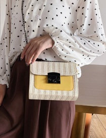 Fashion Yellow Splicing Contrast Color Shoulder Messenger Bag