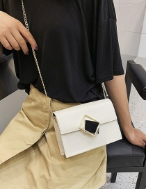 Fashion White Hollow Square Buckle Chain Shoulder Messenger Bag
