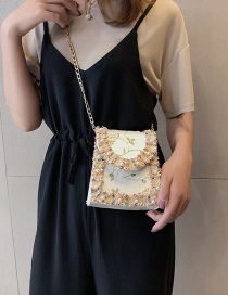 Fashion White Lace Chain Pearl Crossbody Shoulder Bag