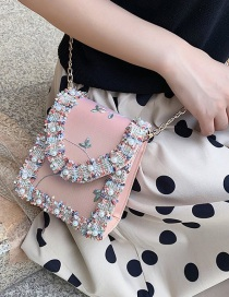 Fashion Pink Lace Chain Pearl Crossbody Shoulder Bag