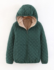 Fashion Dark Green Checked Lamb Hooded Hooded Padded Coat