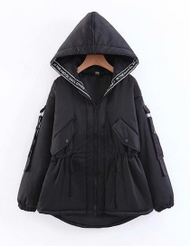 Fashion Black Thickened Drawstring Waist Hooded Cotton Coat