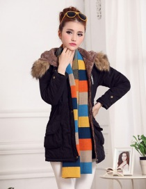 Fashion Black Thick Hooded Long Suede Lamb Wool Coat