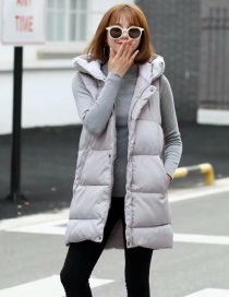 Fashion Gray Hooded Long Cotton Vest