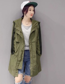 Fashion Armygreen Mid-length Hooded Striped Trench Coat