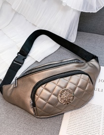 Fashion Champagne Ribbed Embroidery Line Shoulder Diagonal Chest Bag