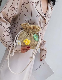 Fashion Khaki Flower Straw Single Shoulder Messenger Bag