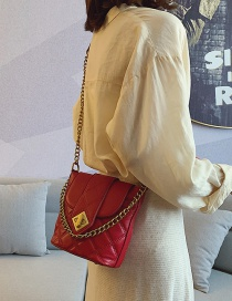 Fashion Red Rhombic Chain Crossbody Shoulder Bag