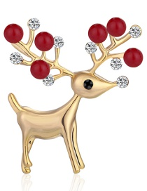 Fashion Red Alloy Diamond Pearl Christmas Deer Brooch