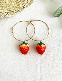 Fashion Strawberry Alloy Circle Fruit Earrings