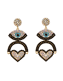 Fashion Ab Color Alloy Diamond Eye Love Earrings