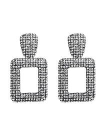 Fashion Gray Alloy Studded Square Earrings