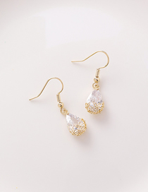 Fashion Earrings Water Drop Zircon Hollow Flower Ear Hook