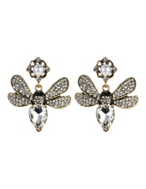 Fashion White Butterfly Inlaid Colored Diamond Multi-layer Earrings